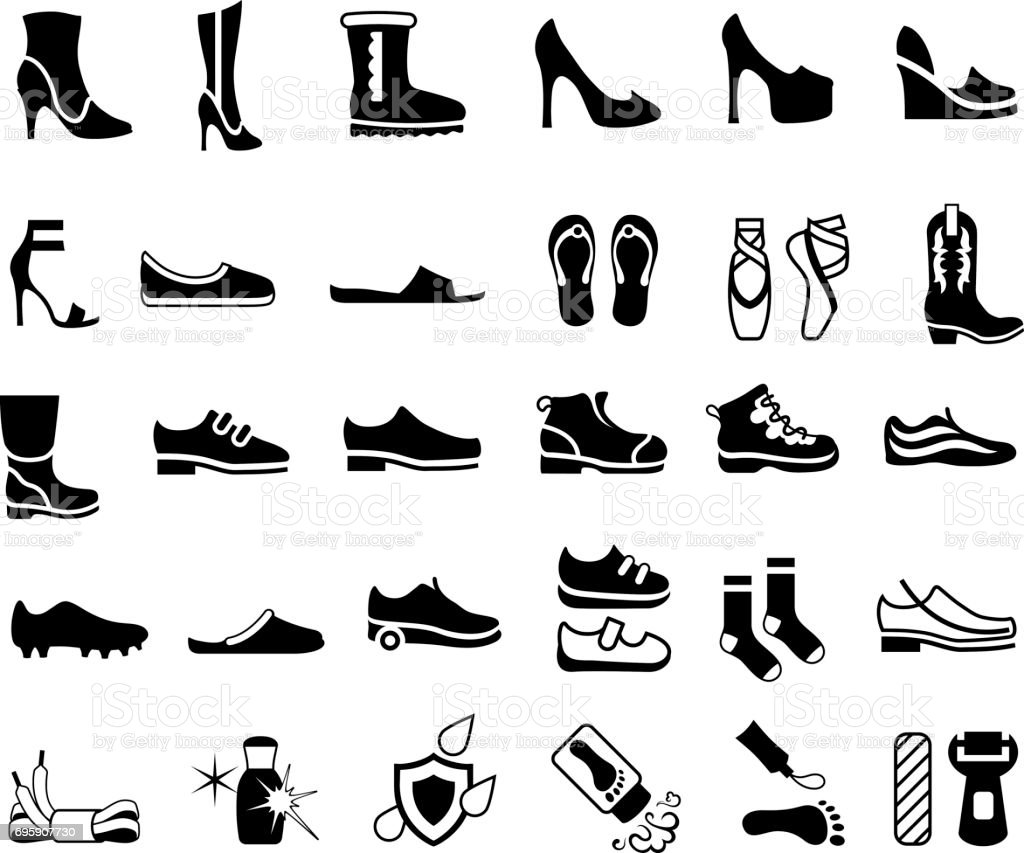 Shoes, Footwear and Foot Care Icons vector art illustration