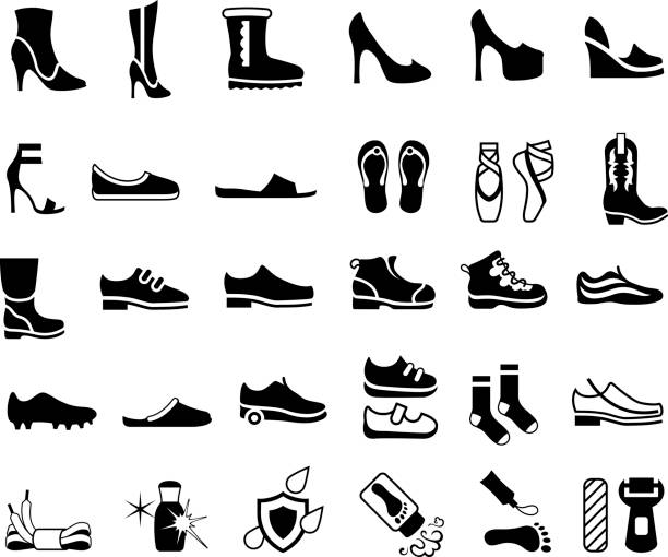 shoes, footwear and foot care icons - wysokie obcasy stock illustrations