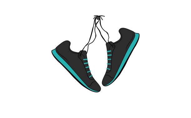 shoes hanging - wisieć stock illustrations