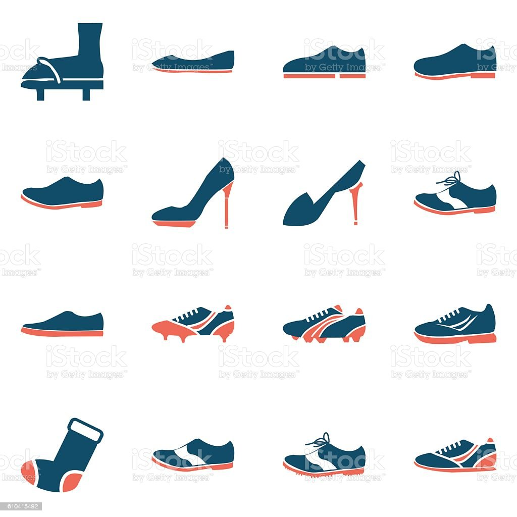 shoes icon set vector art illustration
