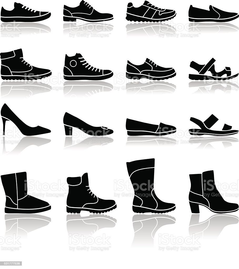 Shoes icons - illustration vector art illustration