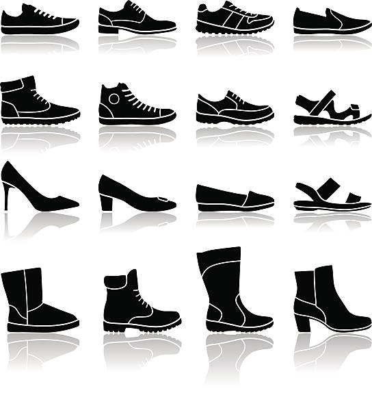 Shoes icons - illustration Vector set of popular footwear models shoe stock illustrations