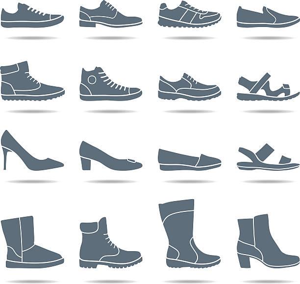 schuhe icons-illustration - eleganter schuh stock-grafiken, -clipart, -cartoons und -symbole