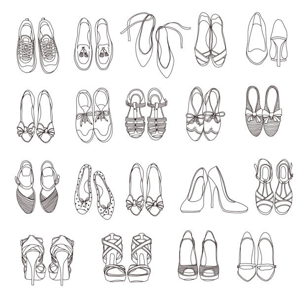 shoes illustration of the woman, - wysokie obcasy stock illustrations