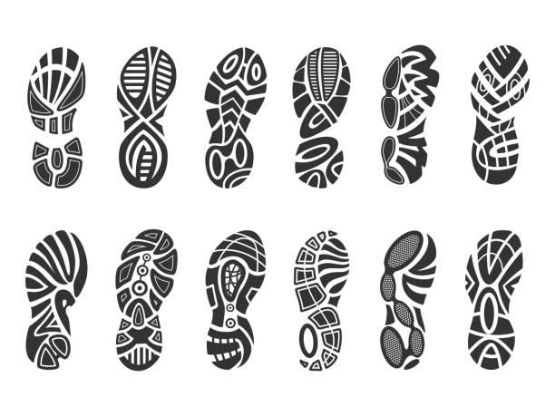 shoes imprint set - оттиск stock illustrations