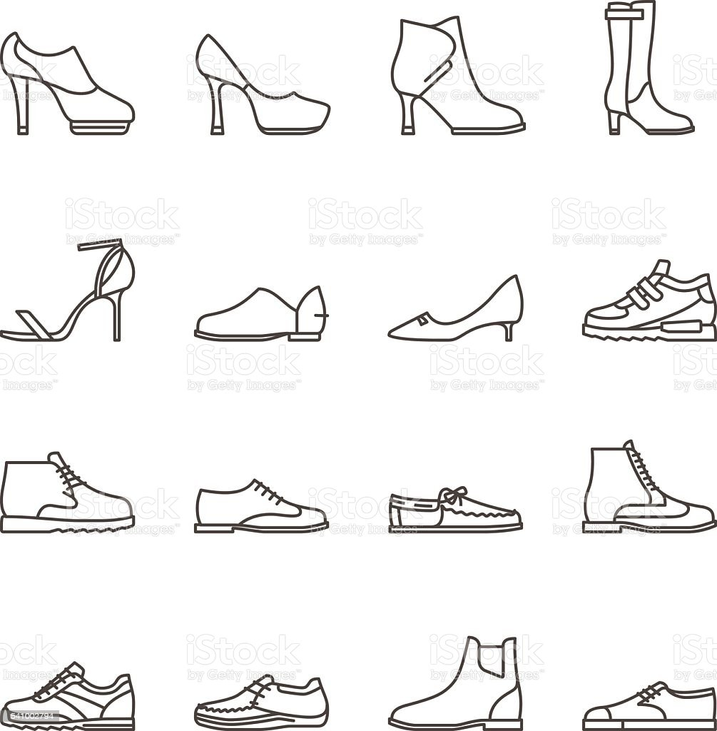Shoes line vector icons vector art illustration