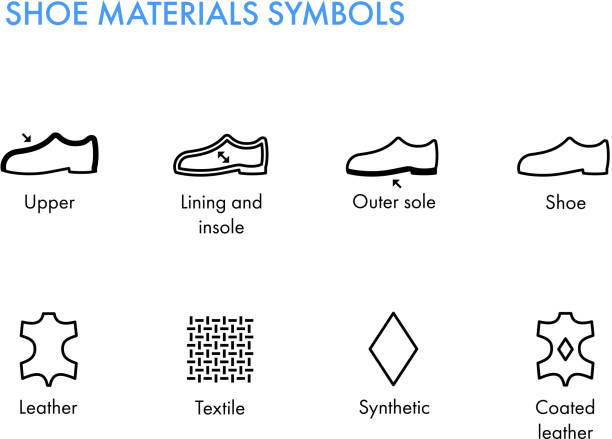 schuhe-materialien-symbole. schuhe-etiketten. schuhe-eigenschaften-glyphe - lederverarbeitung stock-grafiken, -clipart, -cartoons und -symbole
