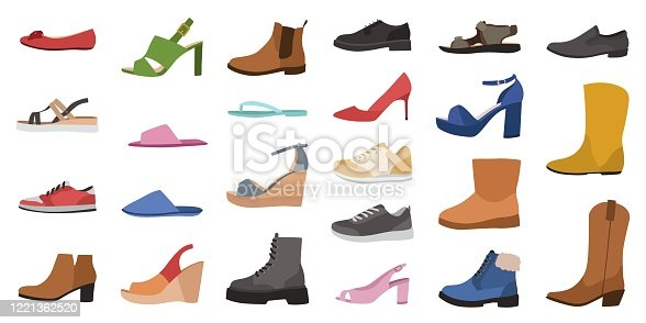 Shoes. Mens, womens and childrens footwear different types, trendy casual, stylish elegant glamour and formal shoes cartoon vector side view set