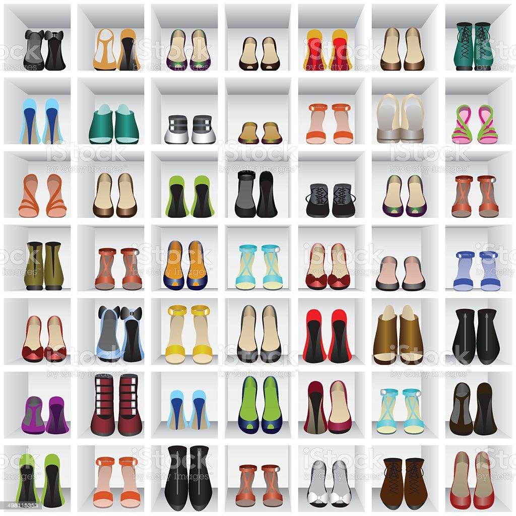 shoes on shelves of shop vector art illustration