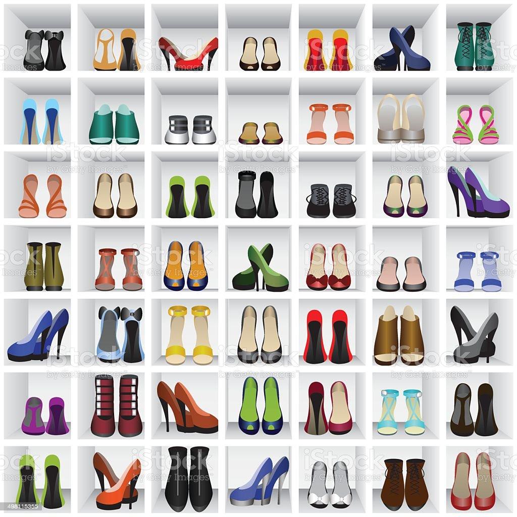 shoes on shelves vector art illustration