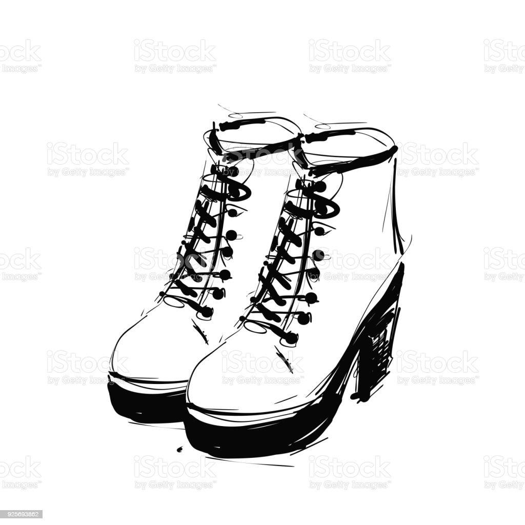 Plattform Fersen Skizze Auf Schuhe Stiefel Stock Der Federn wNv8n0m