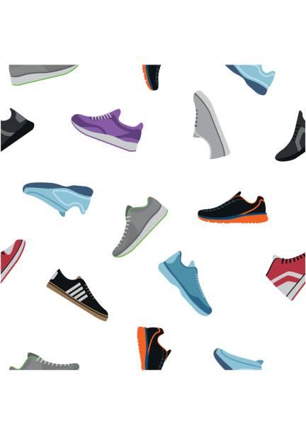 schuhe-muster auf weißem hintergrund. sportwear sneaker, täglichen schuhe kleidung im flachen stil. hohe und niedrige keds, schuhe für sport und casual look - keds stock-grafiken, -clipart, -cartoons und -symbole