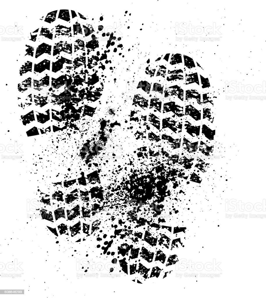 Shoes print grunge vector art illustration