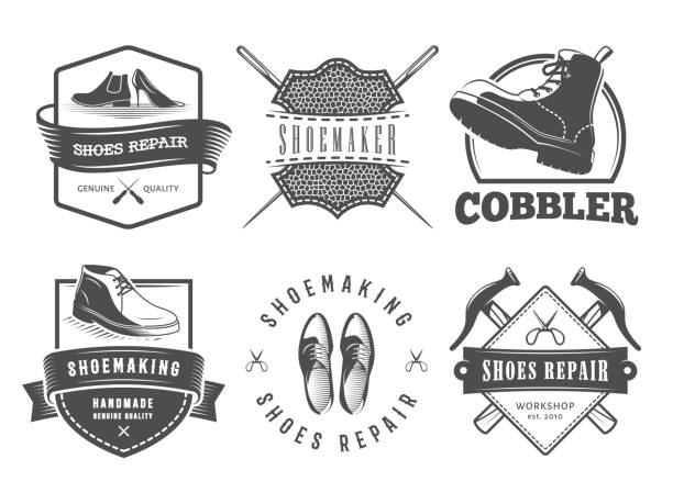 Shoes repair logos. Shoes repair logos. Vector badges for cobbler or shoemaker shop. Labels with shoes, boots and shoemaking tools boot stock illustrations