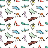 Shoes line icon seamless pattern. Vector background