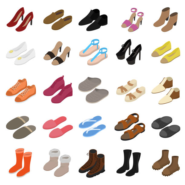 Shoes Sign 3d Icon Set Isometric View. Vector Shoes Sign 3d Icon Set Isometric View Include of Sneaker, Sandal, Slipper, Loafer, Ballet and Moccasin. Vector illustration of Icons shoe stock illustrations
