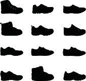 Shoes silhouette Illustration                              EPS 10.
