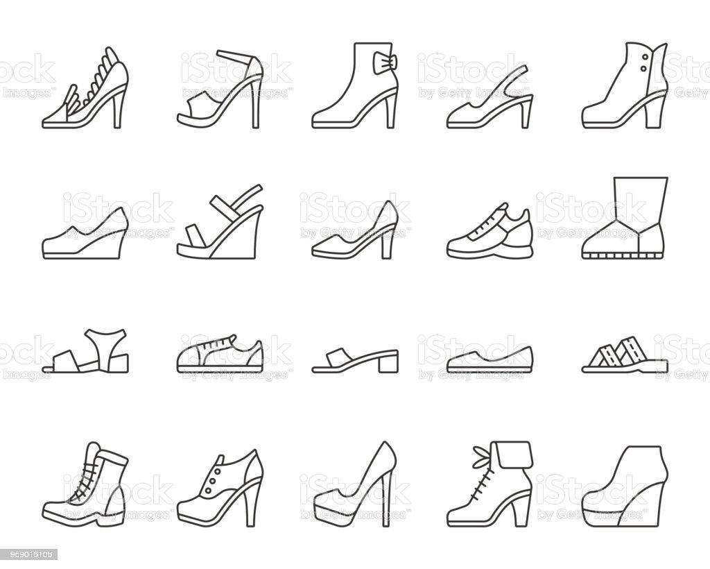 Schuhe einfach schwarze Linie Symbole Vektor-set - Lizenzfrei Athlet Vektorgrafik