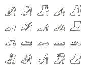 靴シンプルな黒い線のアイコン ベクトルを設定