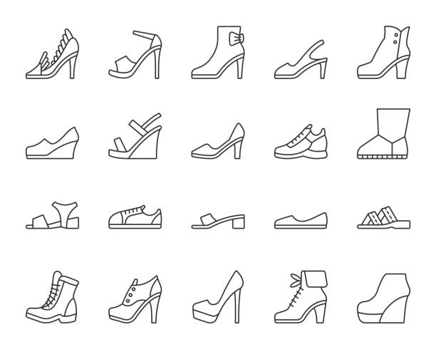 shoes simple black line icons vector set - wysokie obcasy stock illustrations