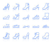 Shoes thin line icons set. Outline vector monochrome web sign kit of footwear. Fashion linear icon collection includes classic, sport, heel. Simple shoes symbol with reflection