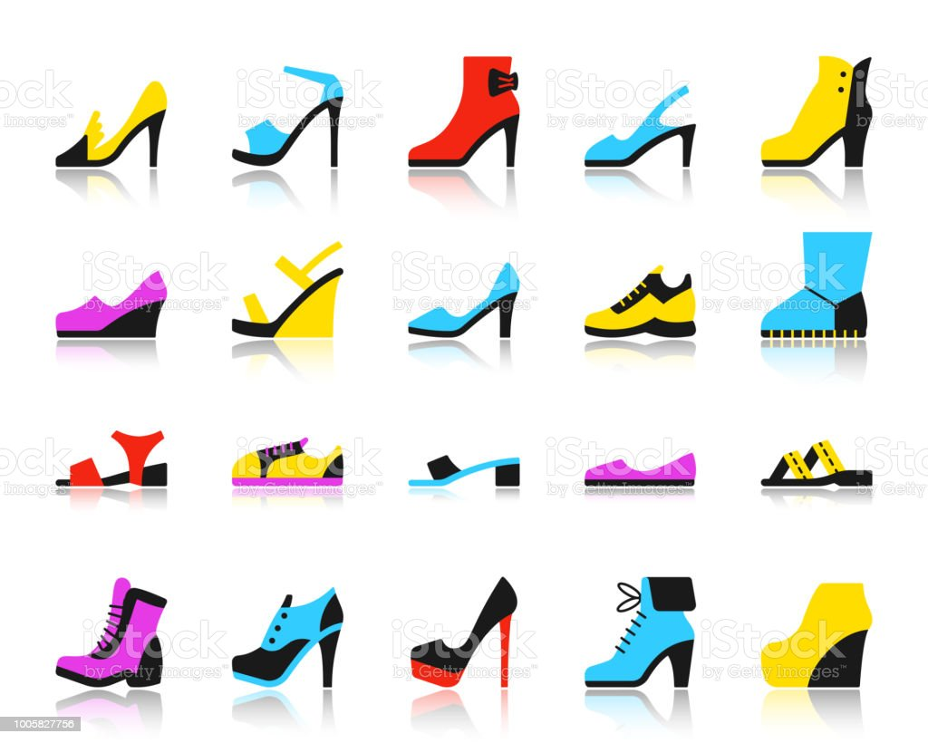 pretty nice d8adc 0faca Shoes Simple Flat Color Icons Vector Set Stock Illustration ...