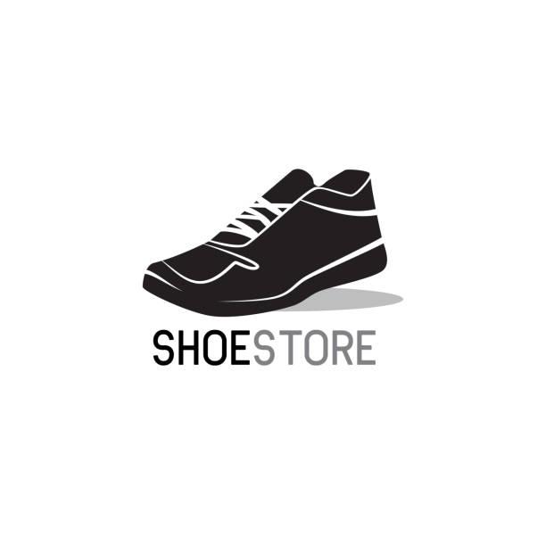 schuhe shop, schuhe shop-symbol auf weißem hintergrund. vektor-illustration - schuhe für sport und freizeit stock-grafiken, -clipart, -cartoons und -symbole