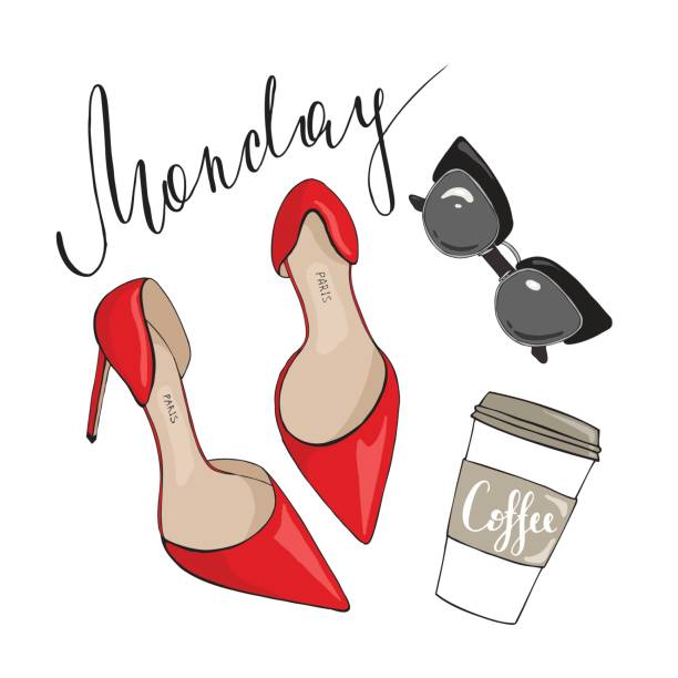 shoes sunglasses and coffee on a white background with the inscription on monday - wysokie obcasy stock illustrations