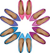 Vector female shoes in circle over white. Top view