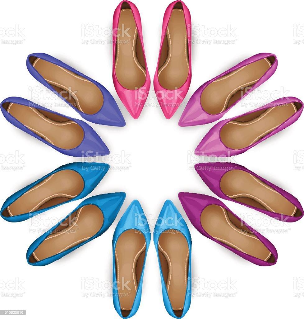 Shoes Top View vector art illustration