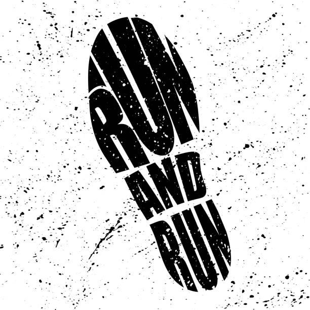 stockillustraties, clipart, cartoons en iconen met schoenen track silhouet - running shoes