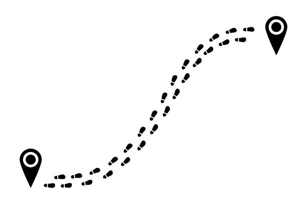 shoes tracking path from one point to another. - pojedynczny stopień stock illustrations