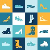 Shoe icons and symbols.