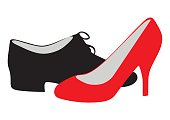 Men's and women's shoes. Black and red illustration.