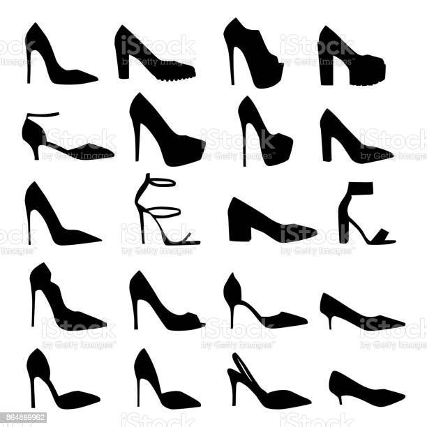 Set of vector silhouettes of female shoes with heels