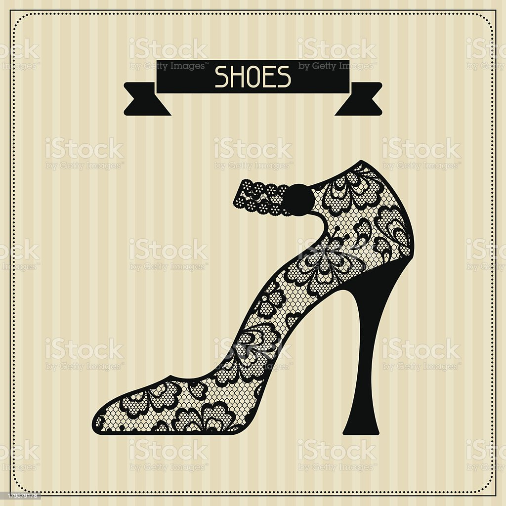 Shoes. Vintage lace background, floral ornament. royalty-free stock vector art