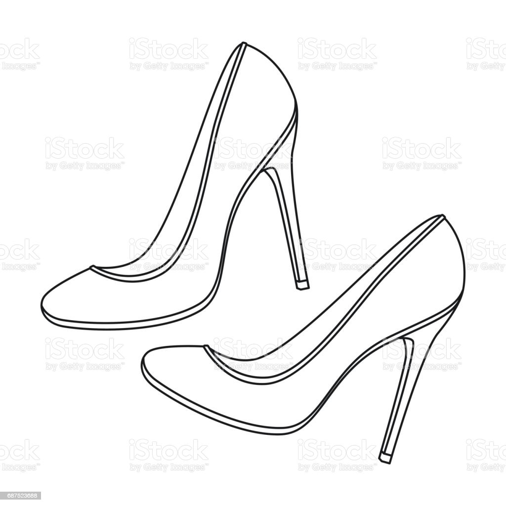 77031628e7ed Shoes with stiletto heel icon in outline style isolated on white background.  France country symbol stock vector illustration. - Illustration .