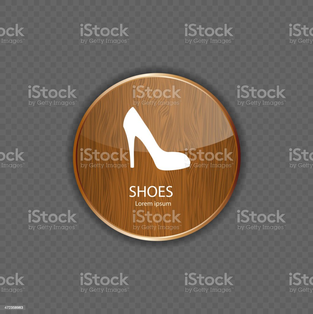 Shoes wood application icons royalty-free stock vector art