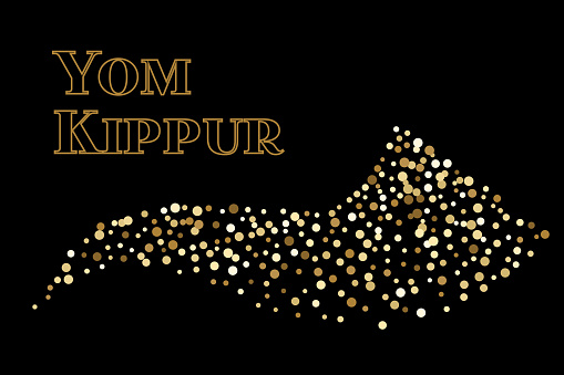 shofar yom kippur greeting card vector illustration stock