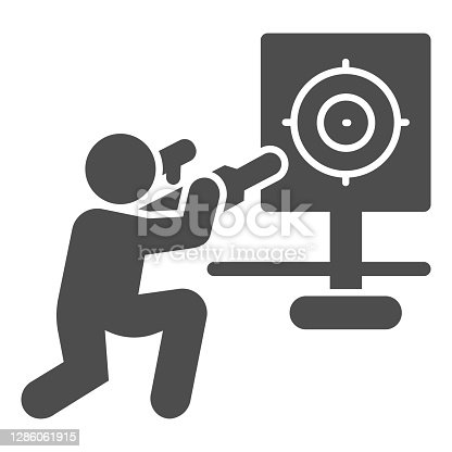 istock Shooter and target solid icon, self defense concept, shooting range sign on white background, training in shooting range icon in glyph style for mobile concept. Vector graphics. 1286061915