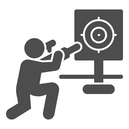 Shooter and target solid icon, self defense concept, shooting range sign on white background, training in shooting range icon in glyph style for mobile concept. Vector graphics.