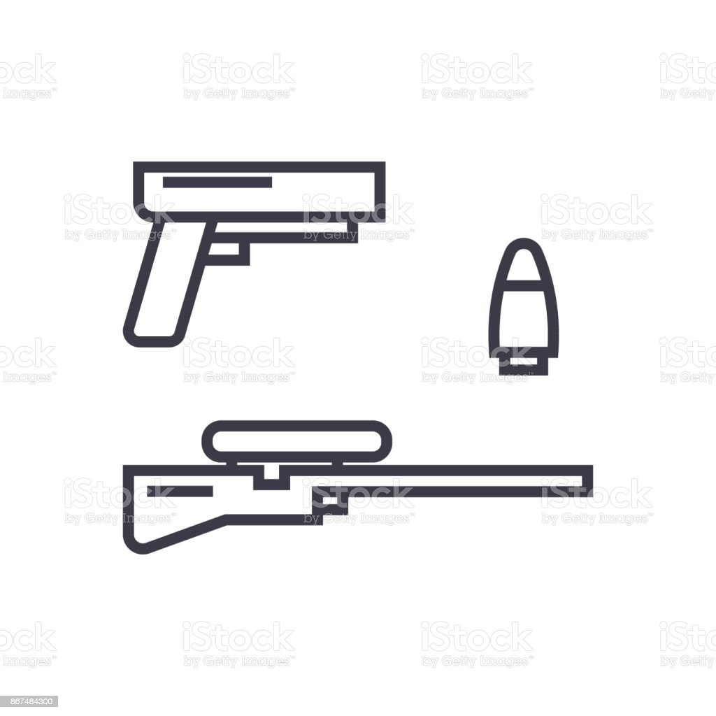 Shooter game gun rifle bullet concept vector thin line icon symbol shooter game gun rifle bullet concept vector thin line icon symbol biocorpaavc Images