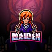 Vector illustration of  Shooter girl mascot esport logo design