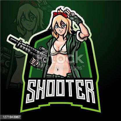 Shooter girls mascot design