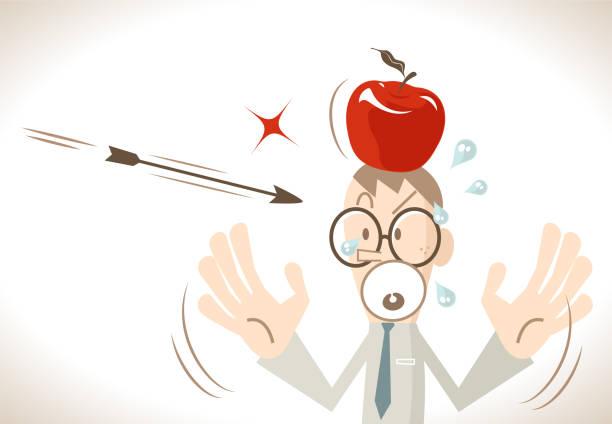 pfeil auf ein apple-ziel auf eine angst geschäftsmann kopf schießen aber nicht - kopfschüsse stock-grafiken, -clipart, -cartoons und -symbole