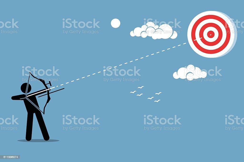 Shooting arrow on a target vector art illustration