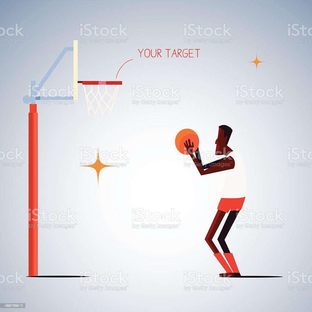 shooting basketball.life goal concept vector art illustration