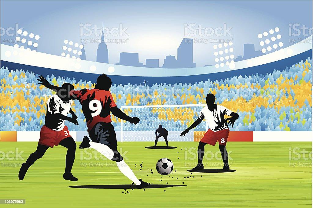 Shooting for a soccer goal vector art illustration