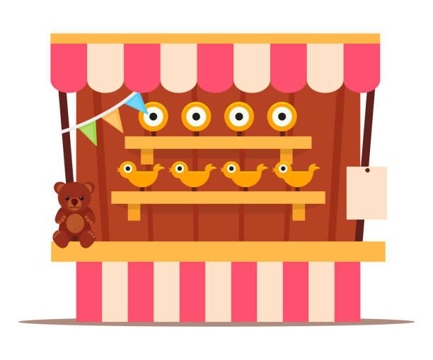 stockillustraties, clipart, cartoons en iconen met shooting game booth voor amusement in park op wit - mini amusementpark