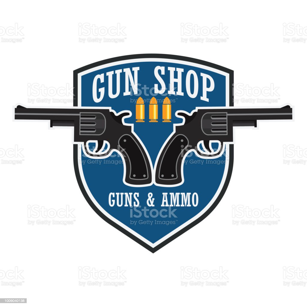 shooting gun icon for shooting club, vector illustration vector art illustration
